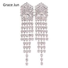 bridal clip on earrings grace jun tm new design bridal silver plated rhinestone