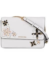 lyst michael michael kors flowers detail cross body bag in white