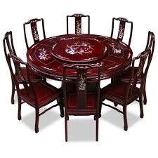 rosewood pearl inlay design round dining table with 8 chairs