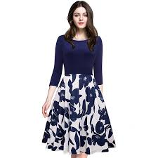 dress blue autumn winter 3 4 sleeve women casual dresses 2018 plus size
