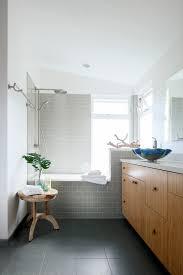 grey subway tile bathroom contemporary with awning window bathroom