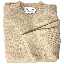 shetland saddle shoulder crew neck sweater in tusk by harley of