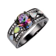 black band engagement rings junxin women black gold opal ring wide band for date
