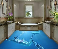 custom self adhesive wallpaper 3d floor tiles bathroom vinyl