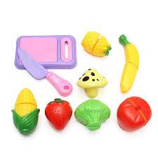 Plastic Toy Kitchen Set 9pcs Plastic Cutting Vegetable Fruit Kitchen Food Pretend Play
