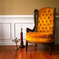 Reupholster Arm Chair Design Ideas Yellow Tufted Leather Wingback Chair With Wood Frame On Wooden