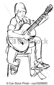 clipart vector of a playing on an acoustic guitar sketch of