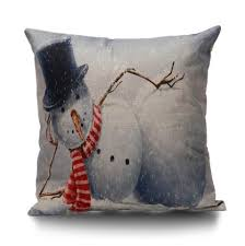 Sofa Pillow Cases Grey White 55 55cm Snowman Printed Throw Pillow Cover Rosegal Com