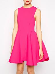 hot pink dress pink fit and flare dress sleeveless princess seams narrow hem