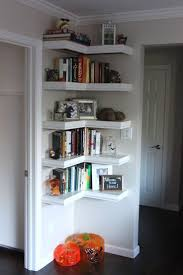 high shelf on wall plus floating contents as decorating corners