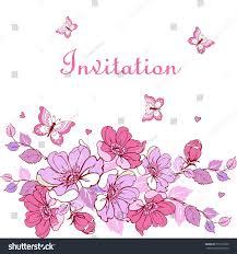 elegant card flowers butterflies weddings birthday stock vector