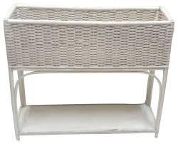 white wicker rectangular planter stand modern indoor pots and