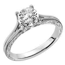 diamond rock rings images Engraved milgrain split shank solitaire ring 001 399 00050 jpg