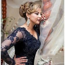 robes m re du mari vintage dentelle bleu marine mère de la mariée robe 2017 v cou à