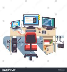 professional programmer working desk setup opened stock vector