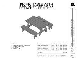 picnic table plans detached benches 6 picnic table and benches building plans blueprints diy do it