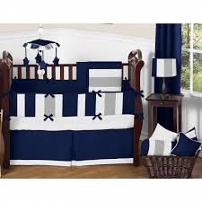Jojo Crib Bedding Sweet Jojo Designs Navy Blue And Grey Striped Microfiber