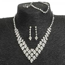 silver bridal necklace images Simple rhinestone v shaped necklace stud earrings bracelet ring jpeg