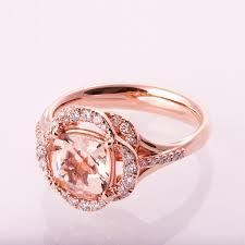 morganite engagement ring flower ring unique engagement ring