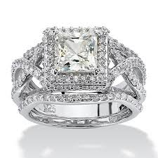 tcw princess cut cubic zirconia platinum sterling silver 3 - Princess Cut Cubic Zirconia Wedding Sets