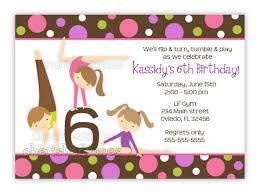 Birthday Cards Invitations Gymnastics Birthday Party Invitations 2017 Thewhipper Com