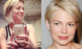 why kaley cucoo cut her hair kaley cuoco s bob haircut inspired by actress michelle williams