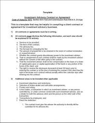 investment advisory agreement investment advisory agreement