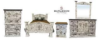 Western Bedroom Furniture King Size Real Wood White Scrape Reclaimed Look Bedroom Set