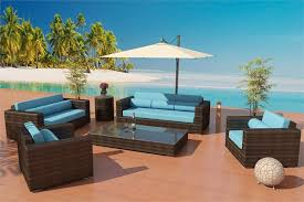 Modern Wicker Patio Furniture Bronze Wicker Viro Fiber Sofa Daybed Set Outdoor 7