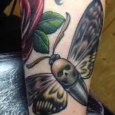 3d skull head moth tattoo design by craig holmes