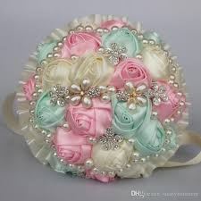 quinceanera bouquets pink blue ivory wedding bouquets satin simulation flower pearls