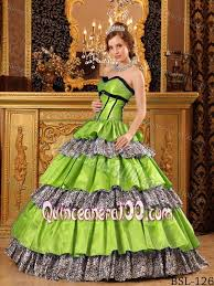 spring green taffeta and animal print sweet 16 quinceanera dress