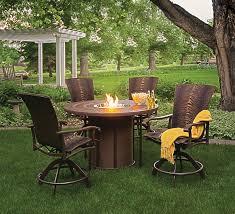 ridgecrest cushion patio set with cast stone fire pit table patios
