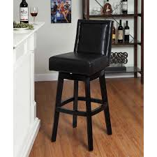 Backless Counter Stool Leather Contemporary Style Black Leather Bar Stools