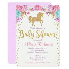 babyshower invitations unicorn baby shower invitation pink and gold zazzle