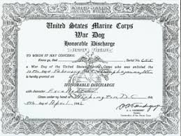 honorable discharge certificate war dog honorable discharge certificate from the u s marine corps