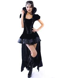 Womens Cheap Halloween Costumes Vilanya Black 2 Pieces Short Sleeved Ruffles Wicked Queen Cheap