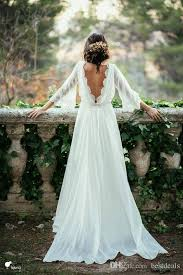 flowing wedding dresses discount ivory lace 3 4 sleeve backless bohemian wedding