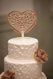 burlap cake toppers white wire and burlap heart cake topper