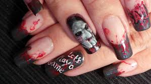 halloween nail art tutorial saw jigsaw inspired design youtube
