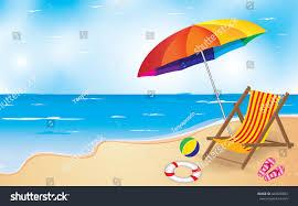 Beach Umbrella And Chair Beach Umbrella Chair Summer Beach Background Stock Vector