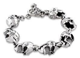link bracelet silver images Silver angry skull link bracelet jpg