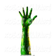 3d clipart of a green humanlike cyborg hand with circuit wires