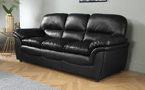 Rochester Black Leather  Seater Sofa Only  Furniture Choice - Leather 3 seat sofa