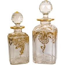 Baccarat Crystal Barware Opulent Raised Gold Enamel On Pair Of Antique Baccarat Crystal