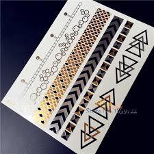 1pc flash temporary tattoo sticker men women makeup uj08 gold
