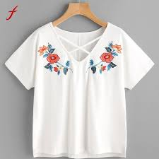 blouse tumbler flower embroidery shirt sleeve tees fashion t