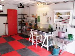 where should you use rubber flooring diy a black and red garage workshop and potting shed all in one