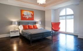 chambre a coucher gris et chambre à coucher chambre coucher minimaliste gris orange idée