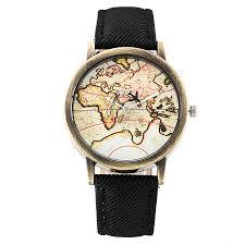 World Map Watch Fashion Global Plane World Map Denim Fabric Band Watch Casual